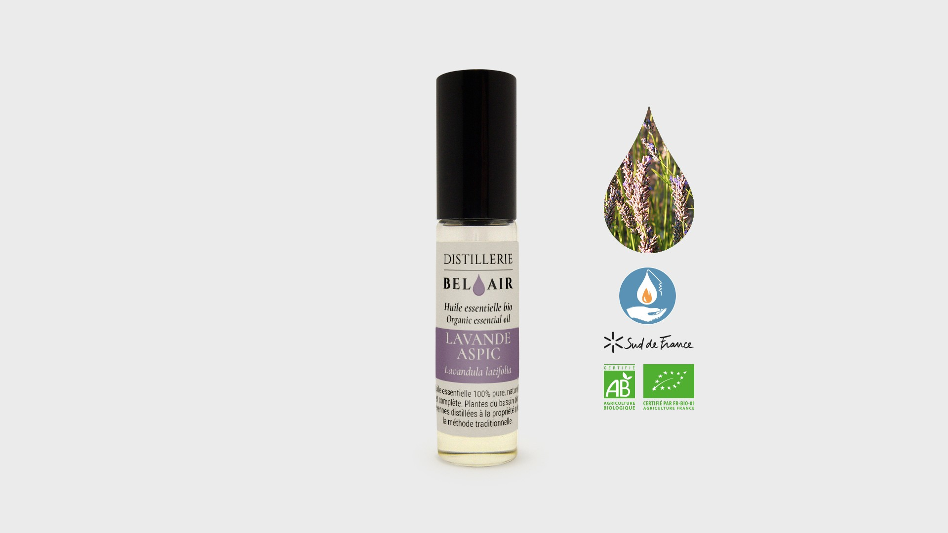 He Lavande Aspic roll-on d'huile essentielle bio