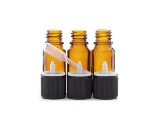 Lot de 3 flacons de 10ml en verre ambré din 18 avec bouchons codigouttes