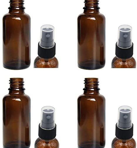 Lot de 4 flacons spray 30 ml en verre ambré